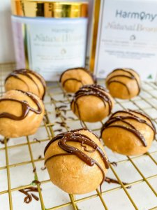 Peanut Butter Collagen Chocolate Bites   Cooling on rack
